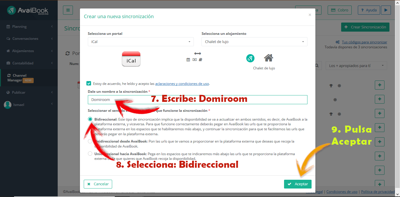 Avaibook Bidireccional Domiroom