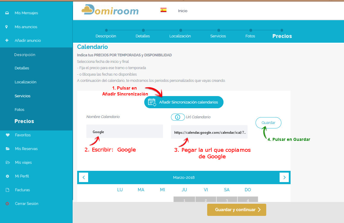 sincronizar calendario de google con domiroom paso 3
